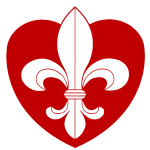 Fleur-de-lys superimposed upon a red heart