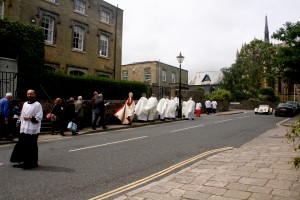 Fr Neil stopped the cars!