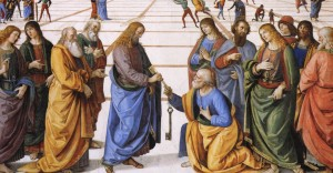Giving of the Keys to S Peter (detail): Pietro Perugino (c.1450–1523), 1481–2; Sistine Chapel