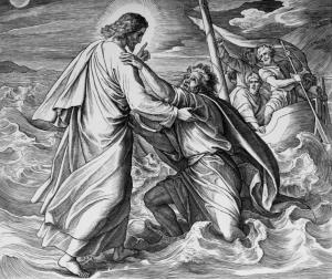 Jesus holds the sinking Peter on the sea, Julius Schnorr von Carolsfeld; pub. Die Bibel in Bildern, Leipzig: Georg Wigands, 1860. Hathi Digital Trust Library, Getty Library