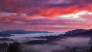 Panorama from the Dukes Pass in The Trossachs, Scotland as the dawn mist rolls down from the Bens; John McSporran, 2017