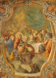 "The Miracle at Cana, Wilhelm Borremans (1670–1744), 1717; Ceiling fresco, Church of Santa Maria dell'Ammiraglio (""The Martorana""), Palermo, Sicily. Photo by Richard Stracke."