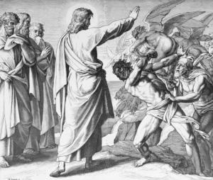 Jesus casting out demons, Julius Schnorr von Carolsfeld (1794–1872), Die Bibel in Bildern, Leipzig 1860