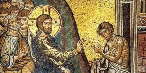 Jesus heals the leper, unknown mosaic
