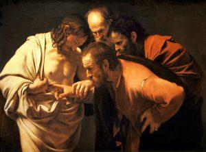 The Incredulity of Saint Thomas, Michelangelo Merisi da Caravaggio (1571–1610), c.1602; Sanssouci Picture Gallery, Potsdam