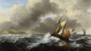 Fishing vessels offshore in a heavy sea, Ludolf Bakhuizen (1630–1708), 1684; Minneapolis Institute of Arts