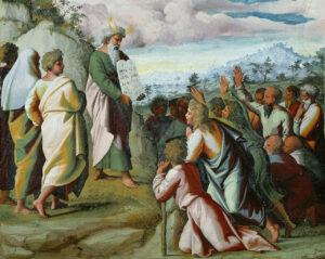 Moses presenting the Ten Commandments, Raphael [Raffaello Sanzio da Urbino] (1483–1520), 1518–19; Pontifical Palace, Vatican